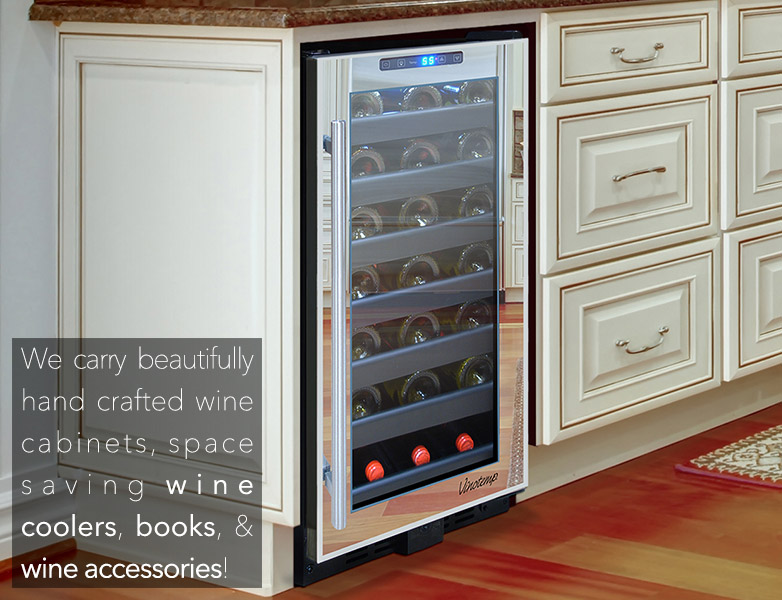Wine Hardware of Sonoma carries wine coolers, cabinets, books, and wine accessories.